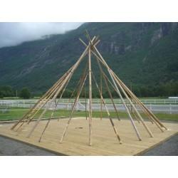 TRADITIONEL Lavvu 25 Raftesæt afbarket og bearbejdet i rette længder, diameter og antal.